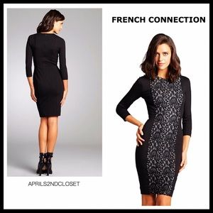 FRENCH CONNECTION LONG SLEEVES BLACK STRETCH DRESS